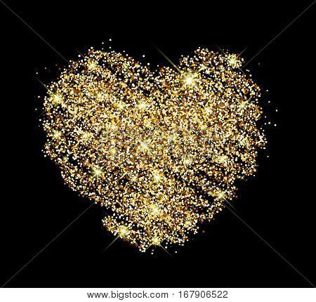Black Valentine's love background with golden sandy heart. Vector illustration.