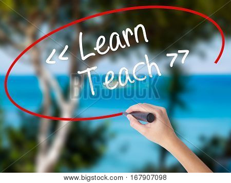 Woman Hand Writing Learn - Teach With Black Marker On Visual Screen.