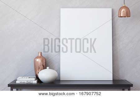 Canvas mockup. Interior with large canvas. 3d render.