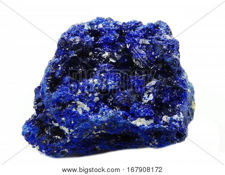 azurite semiprecious geological crystal blue mineral isolated