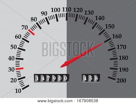 A speedometer design with red needle in grey