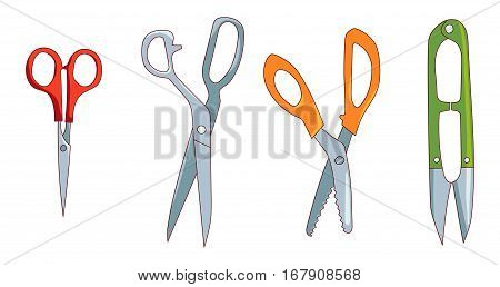 Sewing cutting tools set isolated on white background, Fabric shears, small embroidery scissors, pinking shears, thread-clipper, vector icon