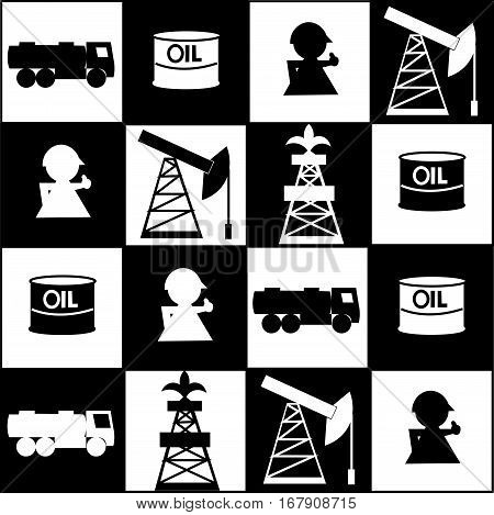 Competition in the oil market. On the chessboard oil derrick, gasoline tanker, workers, oilman, tanks with oil. Black and white vector illustration. The concept of the oil business