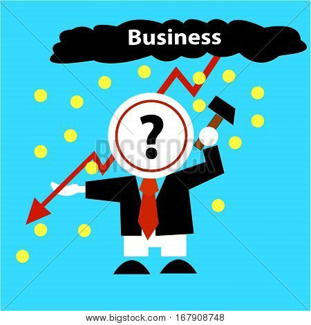 Business concept. Businessman solves problem of falling incomes, profits. Man beats a plate with a question mark, rain of money, coins, zipper - red curve arrow. Blue background. Vector illustration