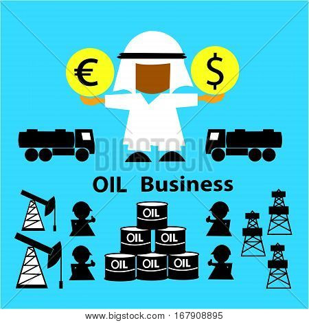 Oil market.  Business concept (oil sale, businessman,  derrick, gasoline tanker, workers, oilman, tanks). Oil Arab countries holds the currency (dollar, euro). Vector illustration.