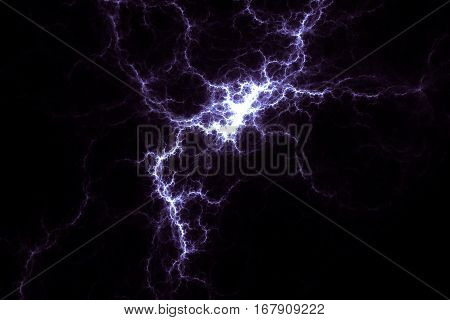Purple lightning design. Abstract background. Isolated on black background.