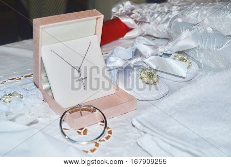 baby girl baptism shoes and cross - Orthodox christening clothes