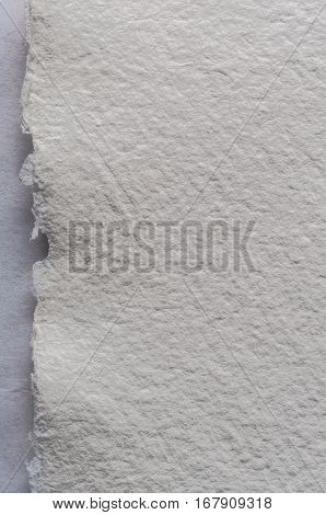A white piece of textured artist's watercolour paper with torn edge.