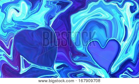 3d illustration of overflowing movement of molecules around a blue background blur wave light hearts