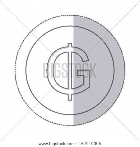 middle shadow monochrome circle with currency symbol of guarani paraguay vector illustration