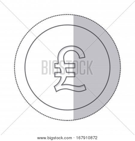 middle shadow monochrome circle with currency symbol of lira italy vector illustration