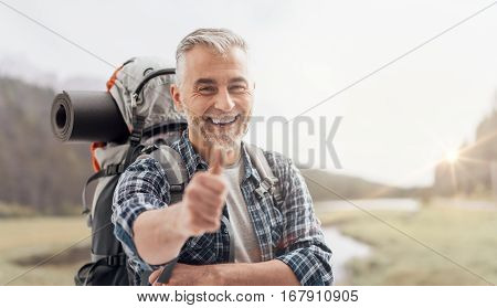 Hiker Giving A Thumbs Up
