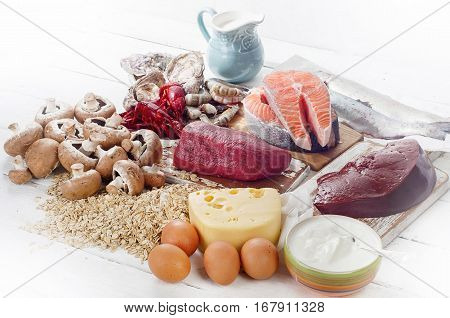 Foods Of Vitamin B12 (cobalamin). Healthy Diet Eating. View From Above.