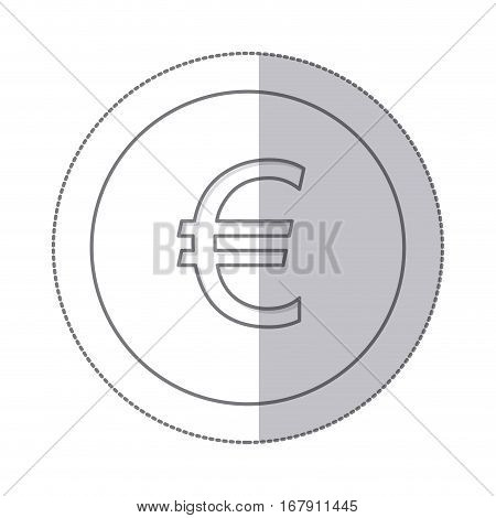 middle shadow monochrome circle with currency symbol of euro vector illustration