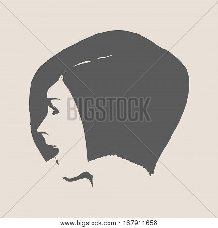Face profile view. Elegant silhouette of a female head. Vector Illustration. Short hair. Monochrome gamma. . Isolated avatar of the expressions face