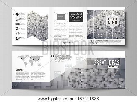 Set of business templates for tri fold square design brochures. Leaflet cover, abstract flat layout, easy editable vector. Pattern made from squares, gray background in geometrical style. Simple texture.