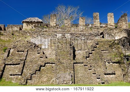 Mexico The towering ceremonial core of Tonina. near Ocosingo comprises one of the Maya worlds imposing temple complex