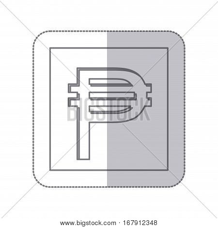 middle shadow monochrome square with currency symbol of philippine vector illustration