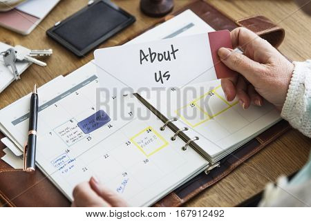 About Us Contact Service Support Profile Information Concept