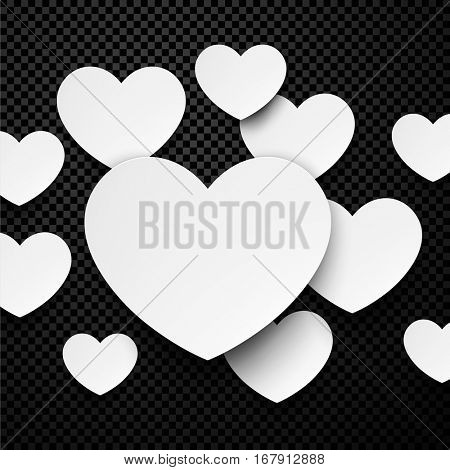 Love valentine's chess background with white paper hearts. Vector illustration.