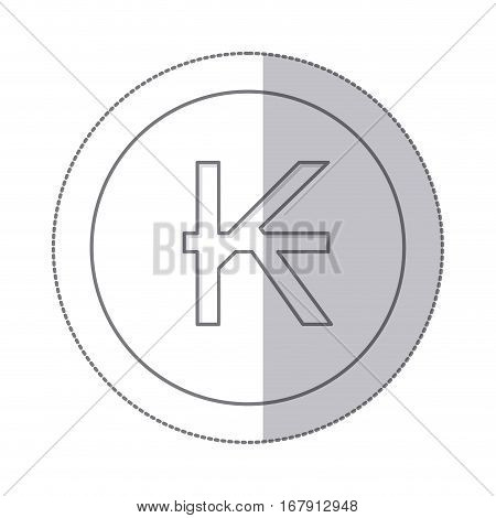 middle shadow monochrome circle with currency symbol of laos vector illustration