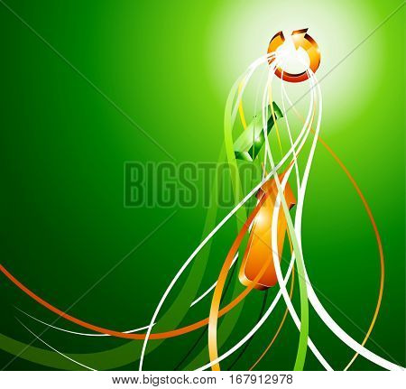 Green abstract background with orange arrows. Vector illustration.