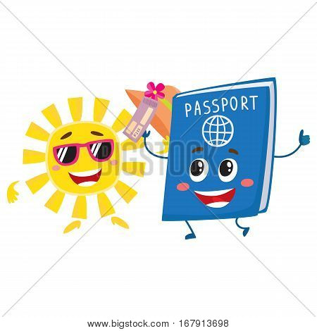 Summer sun and traveler passport characters, holiday, vacation concept, cartoon vector illustration isolated on white background. Smiling sun and happy passport funny characters, mascots