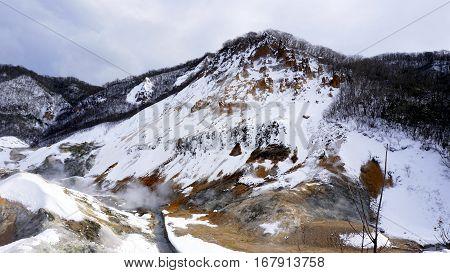 Noboribetsu Onsen Snow Winter Landscape Hell Valley