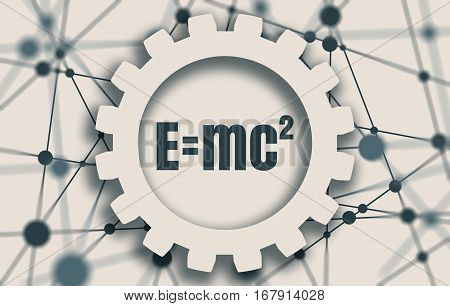 Physical formula of mass and energy equivalence in gear on connected by dots lines backdrop. Molecule And Communication Background. Brochure or report design template