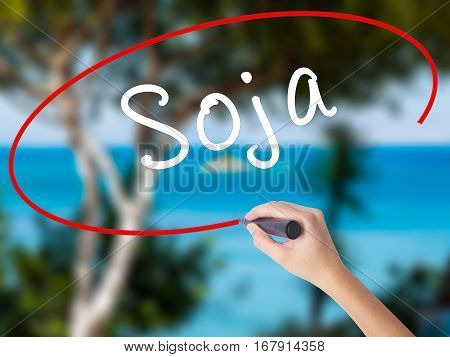 Woman Hand Writing Soja (soybean In Portuguese) With Black Marker On Visual Screen