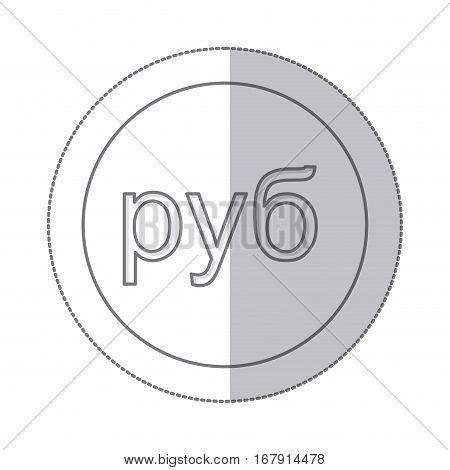 middle shadow monochrome circle with currency symbol of russian ruble vector illustration