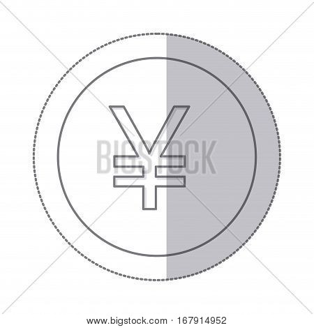 middle shadow monochrome circle with currency symbol of china vector illustration