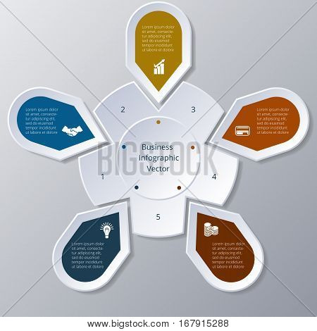 Business Infographic five Points arranged in circle gear