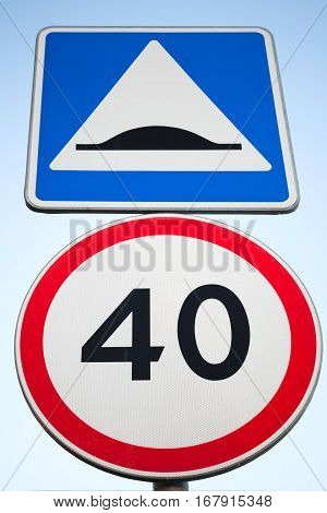 Speed Bump And Speed Limit. Road Signs