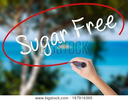 Woman Hand Writing Sugar Free With Black Marker On Visual Screen