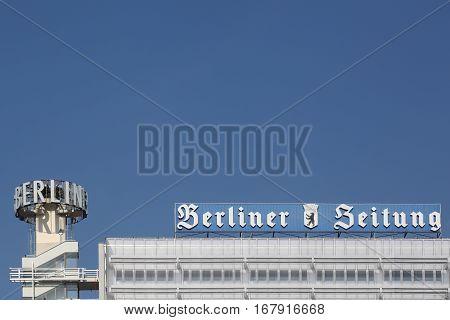 Berlin, Germany- September 6, 2014: Berliner Zeitung building in Berlin. The Berliner Zeitung  is a German daily newspaper based in Berlin, Germany