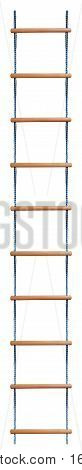 Rope Ladder with wooden steps isolated on white background