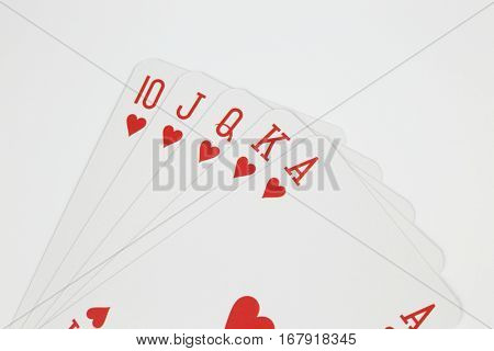 Royal straight flush - playing cards isolated on white background
