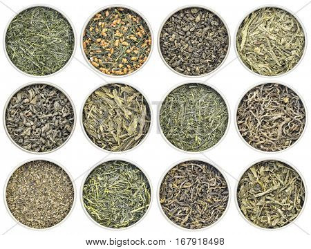 green tea sampler - (clockwise from top left:  Kabusecha, genmaicha , gunpowder, pan fired, young hyson, Dragonwell, Sencha Saga, Yunnan Mao Feng , fanning, Iccha Kariban, Tindharia estate, sencha, ) poster