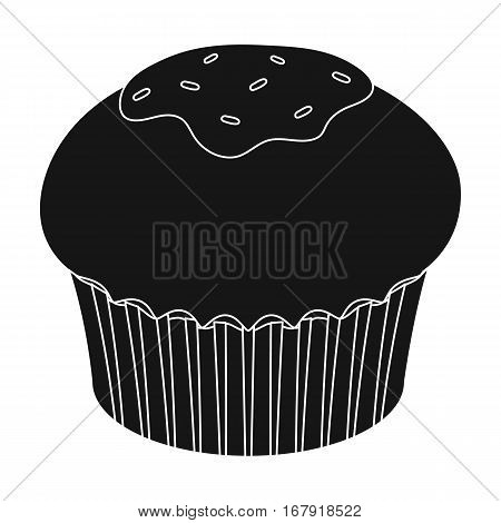 Chocolate cupcake icon in black design isolated on white background. Chocolate desserts symbol stock vector illustration.