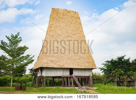Typical House Of J'rai People In Central High Land Of Vietnam (named Rong House In Vietnamese)