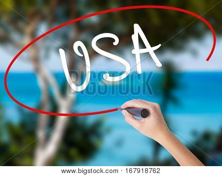 Woman Hand Writing Usa With Black Marker On Visual Screen