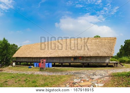 Typical House Of M'nong People In Central High Land Of Vietnam