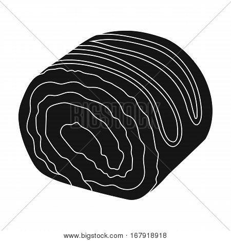 Chocolate roulade icon in black design isolated on white background. Chocolate desserts symbol stock vector illustration.