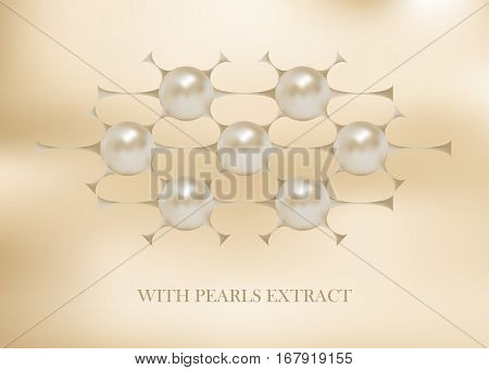 Cosmetic logotype, pearls structure. Vector beauty illustration of clinically tested innovative product. Cosmetic skin, hair care treatment design