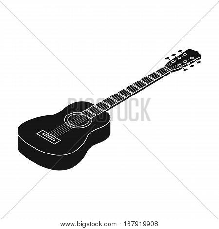 Acoustic guitar icon in black design isolated on white background. Musical instruments symbol stock vector illustration.
