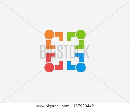 Community, network and social icon set. ,logo icon design template.