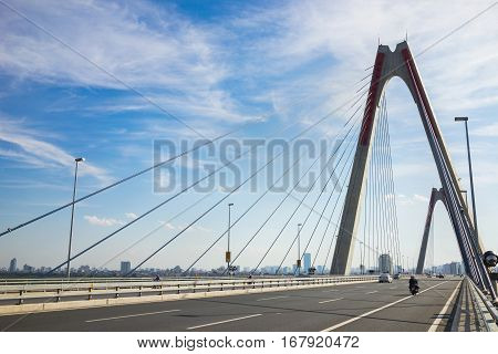 Nhat Tan Bridge (or Vietnam - Japan Friendship Bridge),the Cable-stayed Bridge Crossing The Red Rive