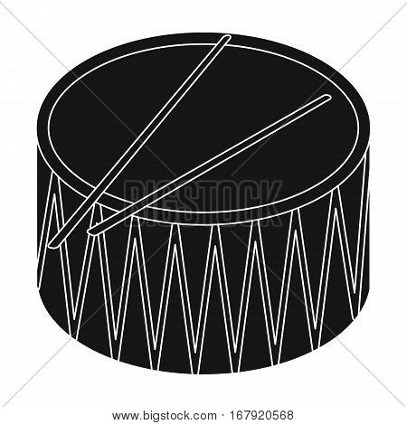 Drum icon in black design isolated on white background. Musical instruments symbol stock vector illustration.