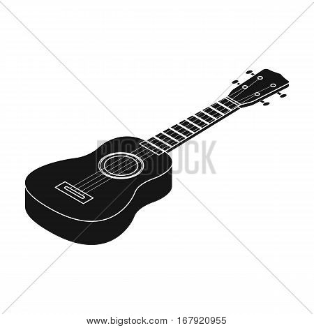 Acoustic bass guitar icon in black design isolated on white background. Musical instruments symbol stock vector illustration.